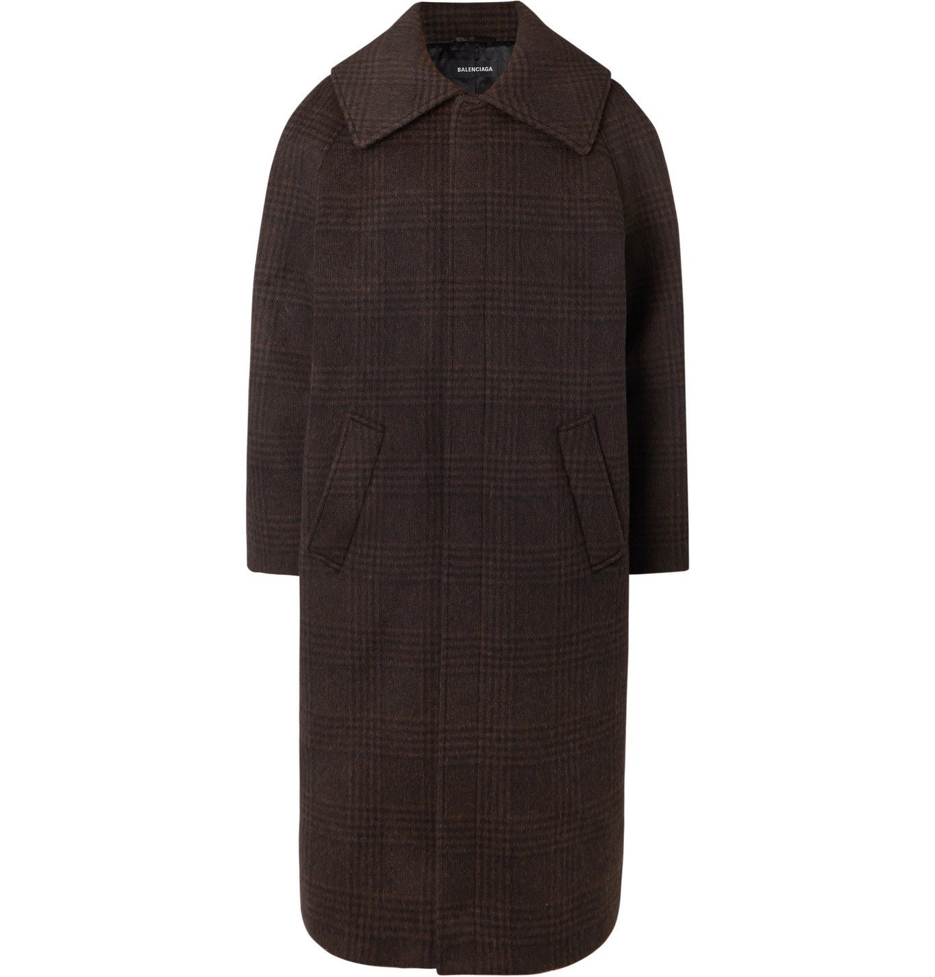 Photo: Balenciaga - Oversized Checked Wool-Blend Coat - Brown