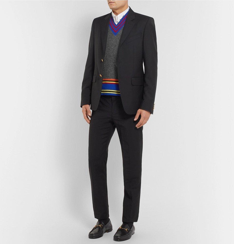 Wool Vest Striped Men Versace Appliquéd Gray Sweater SzwEnRxnIq