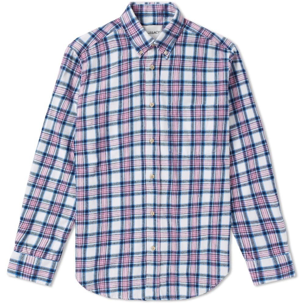 Button-down Collar Checked Cotton-flannel Shirt - BlueOur Legacy Amazone À Vendre mFhas1WU