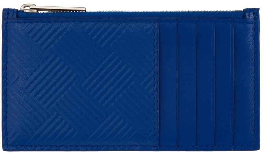 Photo: Bottega Veneta Blue Embossed Zip-Up Card Holder