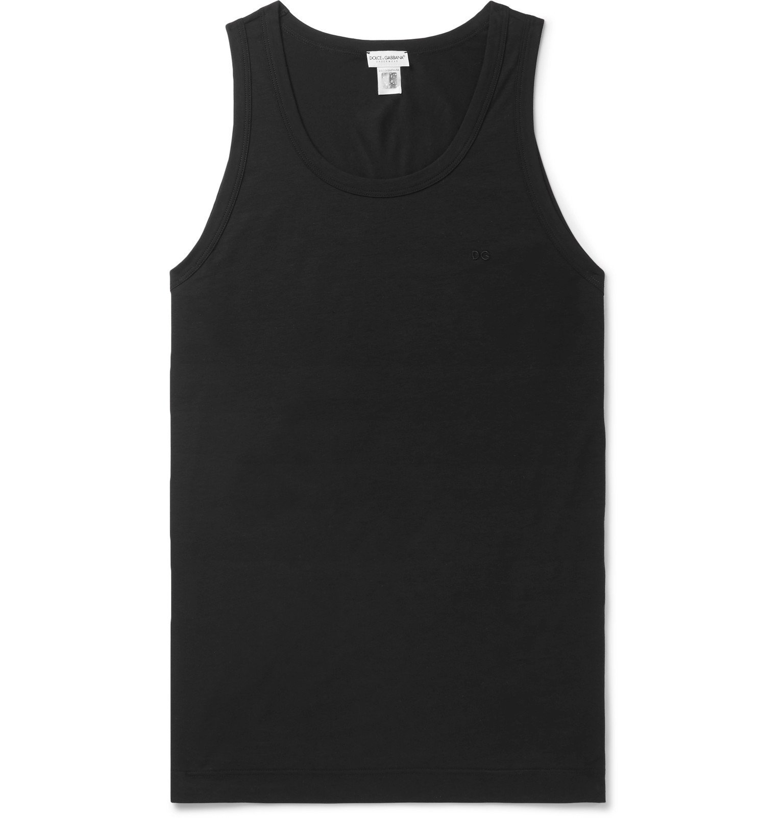 Photo: Dolce & Gabbana - Slim-Fit Stretch-Cotton Jersey Tank Top - Black