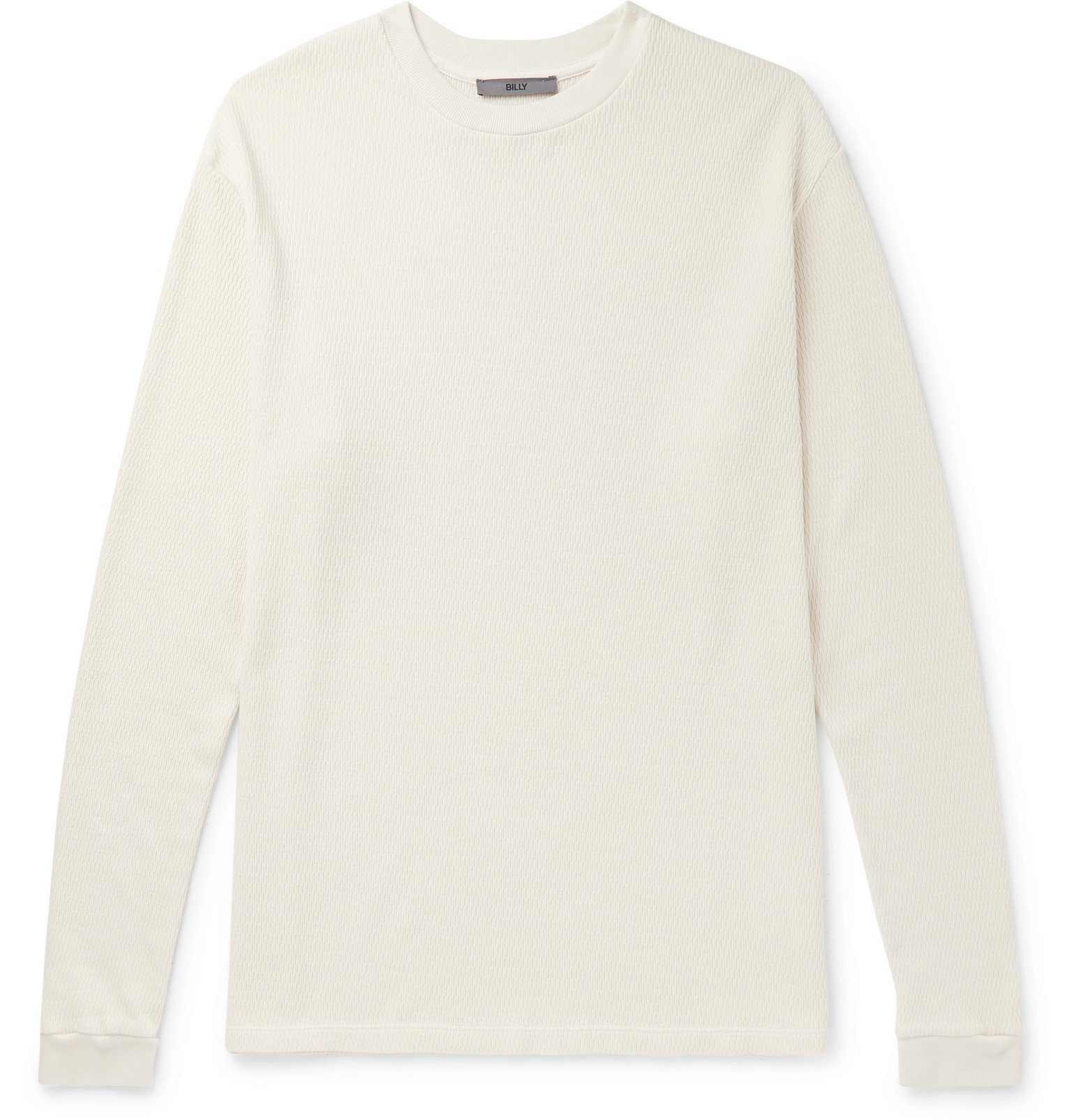 Photo: BILLY - Printed Waffle-Knit Cotton-Jersey T-Shirt - White