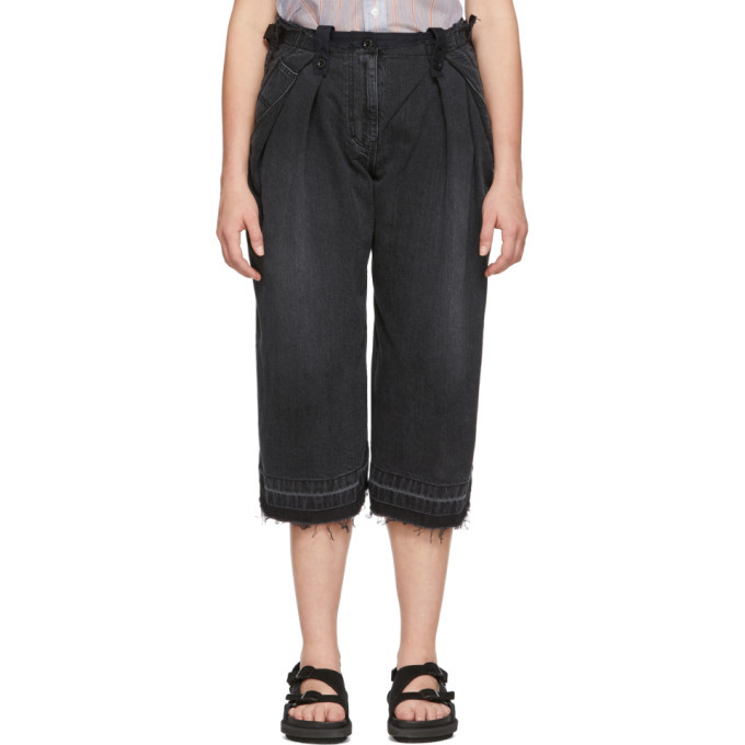 Sacai Black and Navy Cropped Jeans