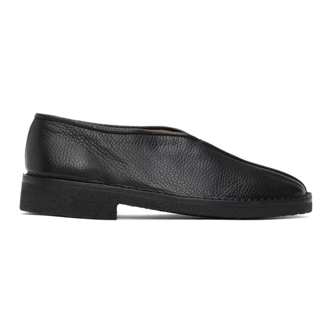 Photo: Lemaire Black Square Toe Slippers