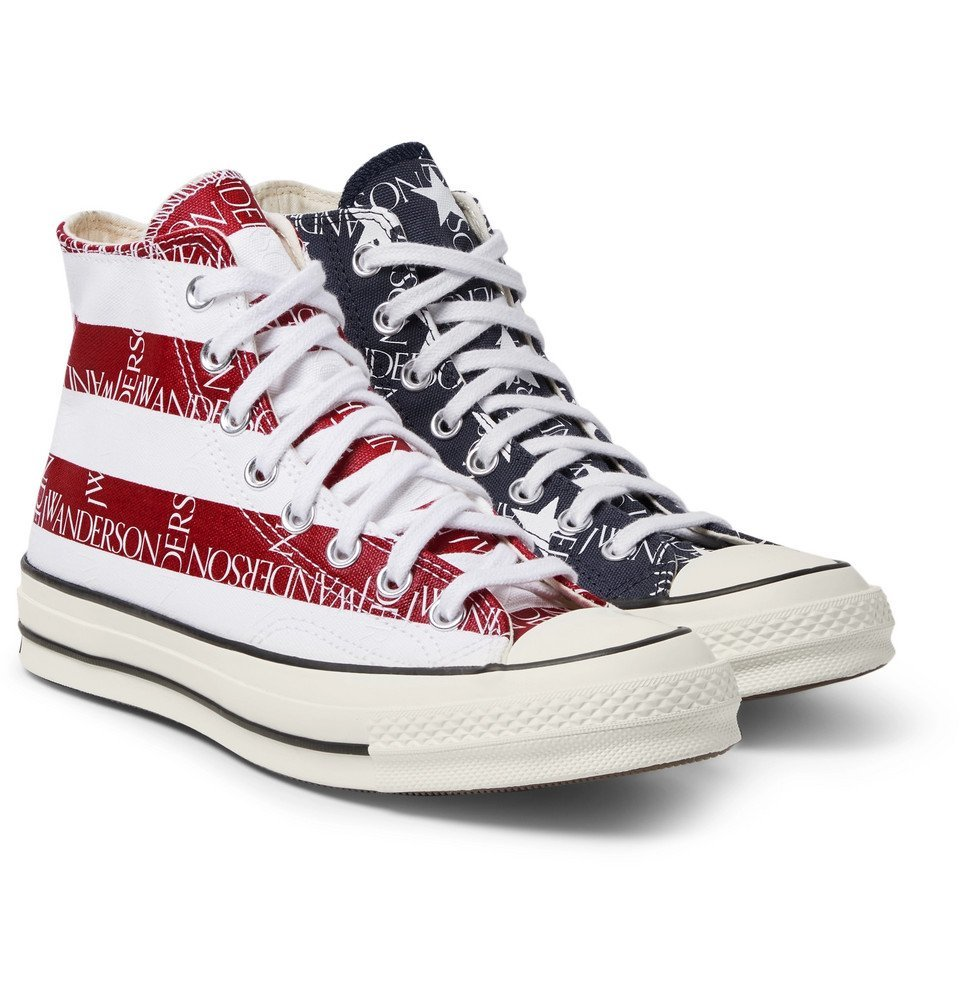 Photo: Converse - JW Anderson 1970s Chuck Taylor All Star Logo-Print Canvas High-Top Sneakers - Navy