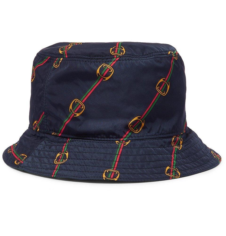 Photo: Gucci - Reversible Printed Shell Bucket Hat - Green