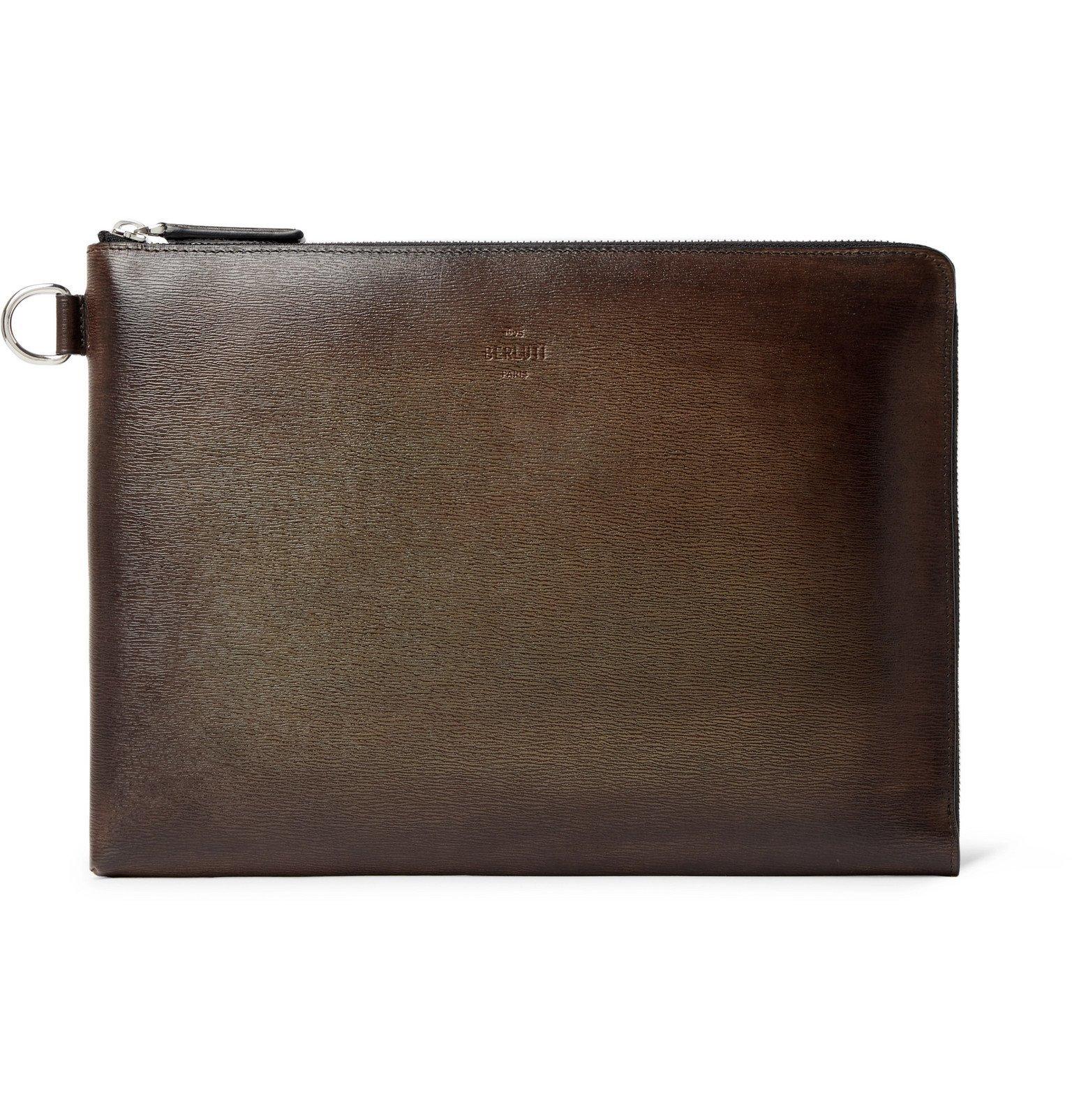 Photo: Berluti - Zip-Around Textured-Leather Pouch - Brown