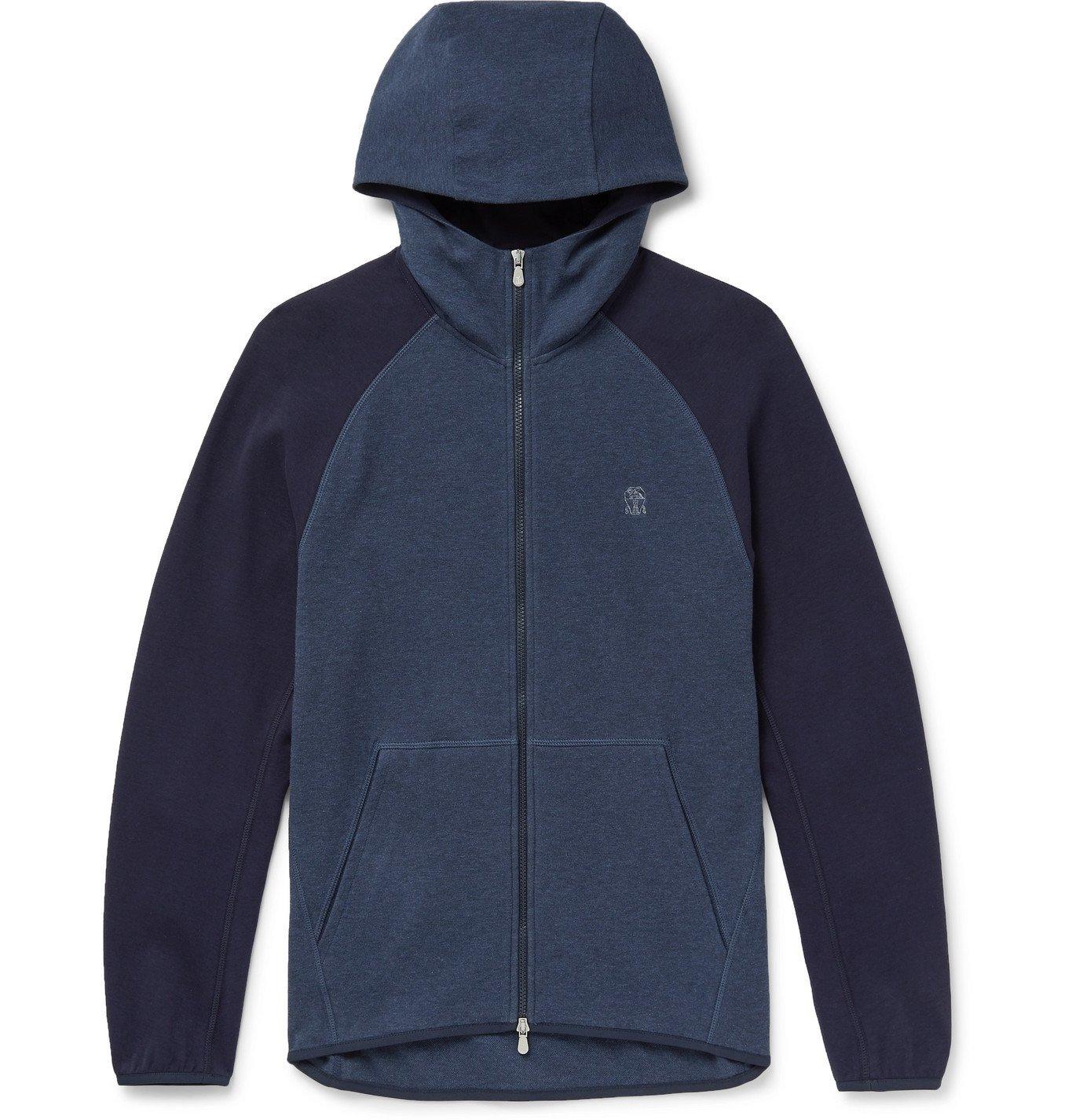 Photo: Brunello Cucinelli - Colour-Block Mélange Cotton-Jersey Zip-Up Hoodie - Gray