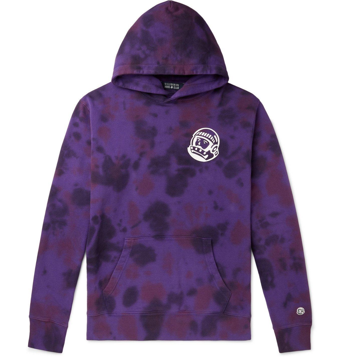 Photo: Billionaire Boys Club - Logo-Print Tie-Dyed Loopback Cotton-Jersey Hoodie - Purple