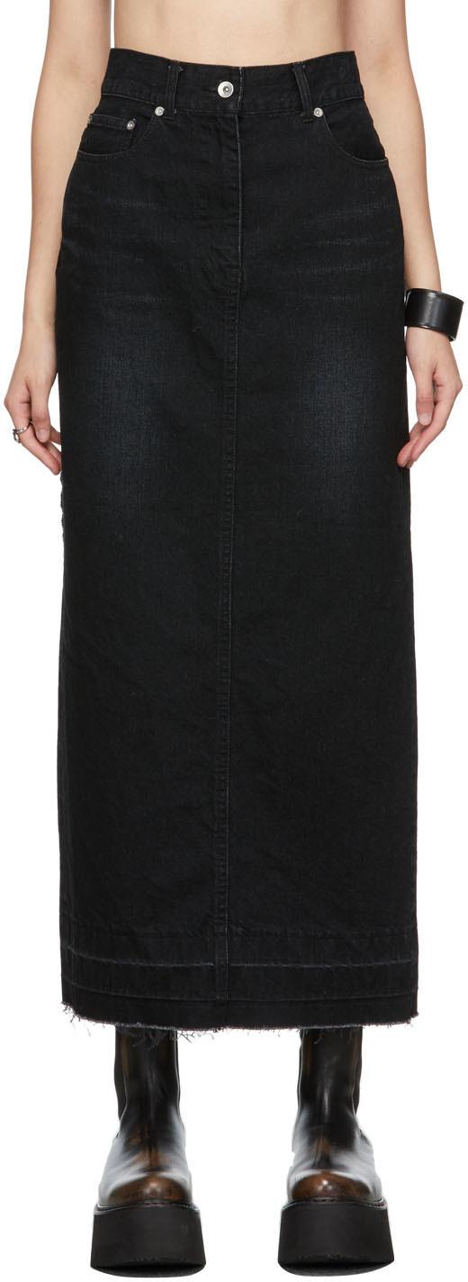 Photo: Sacai Black Paneled Denim Skirt