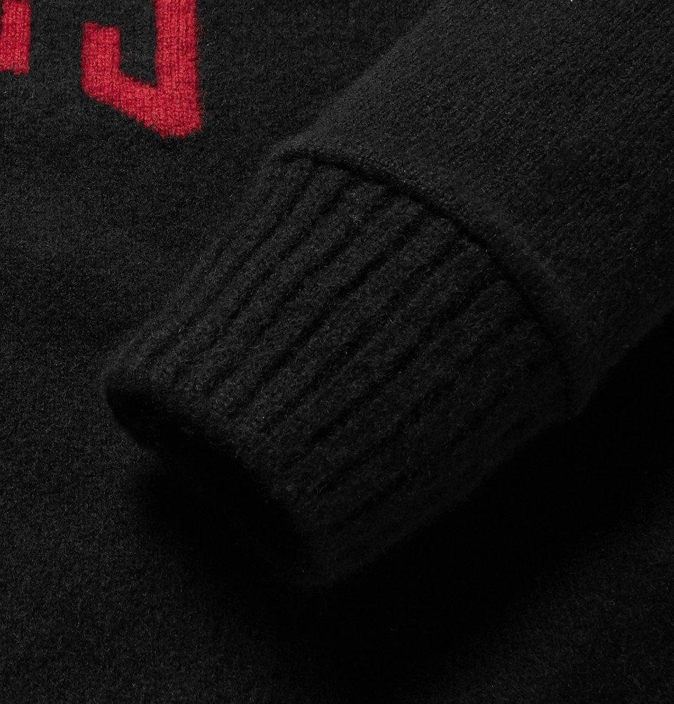 The Elder Statesman - NBA Chicago Bulls Intarsia Cashmere Sweater - Black