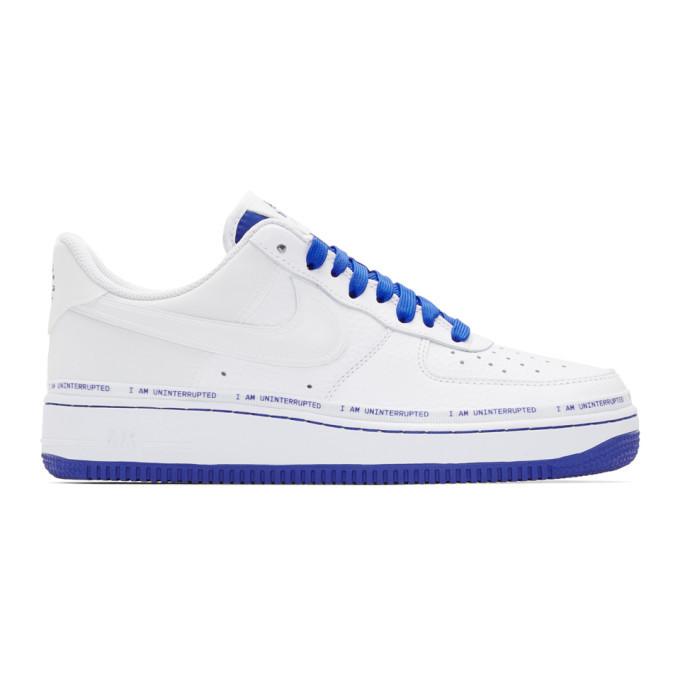 Photo: Nike White and Blue Air Force 107 MTAA Sneakers