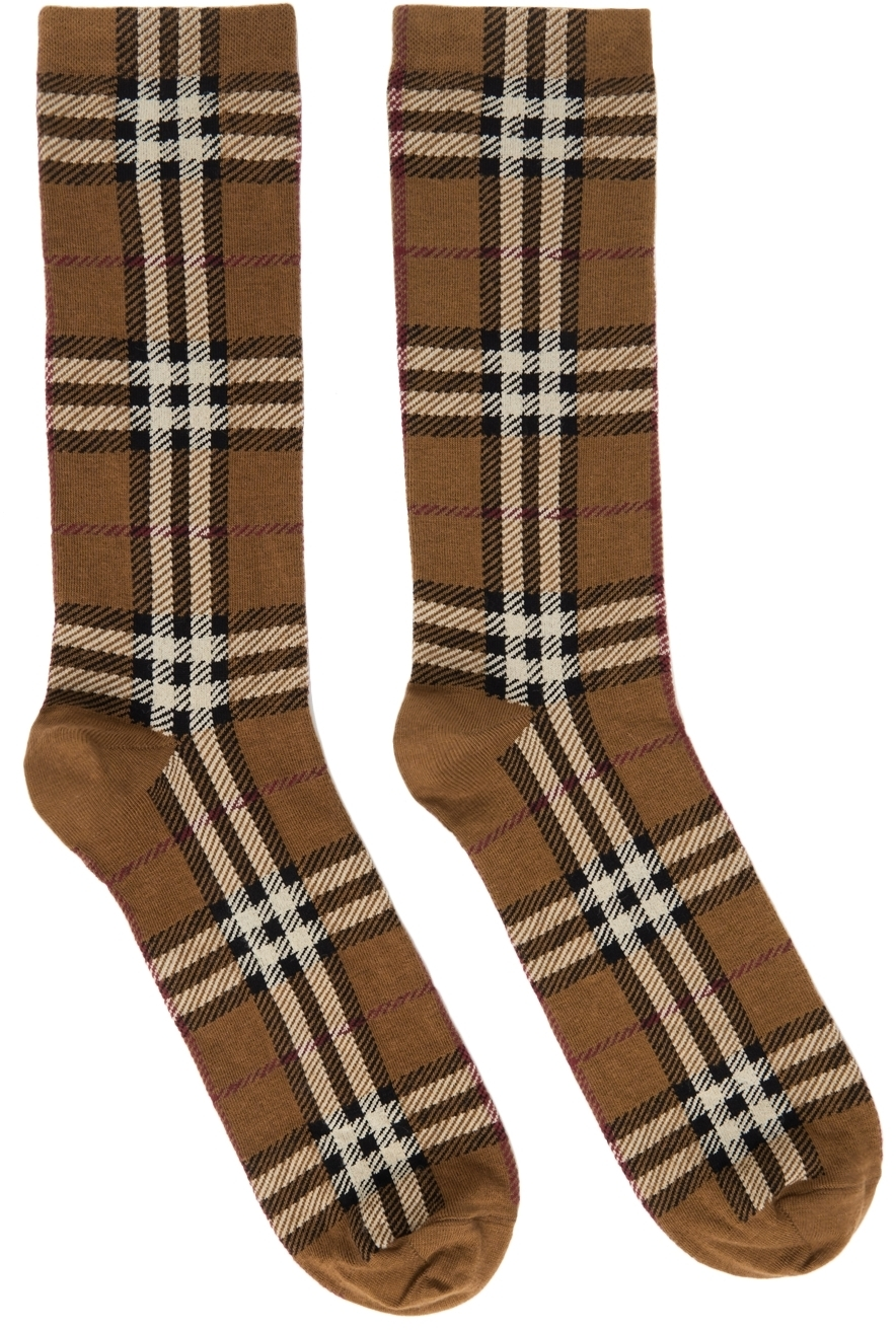 Photo: Burberry Brown Intarsia Check Socks