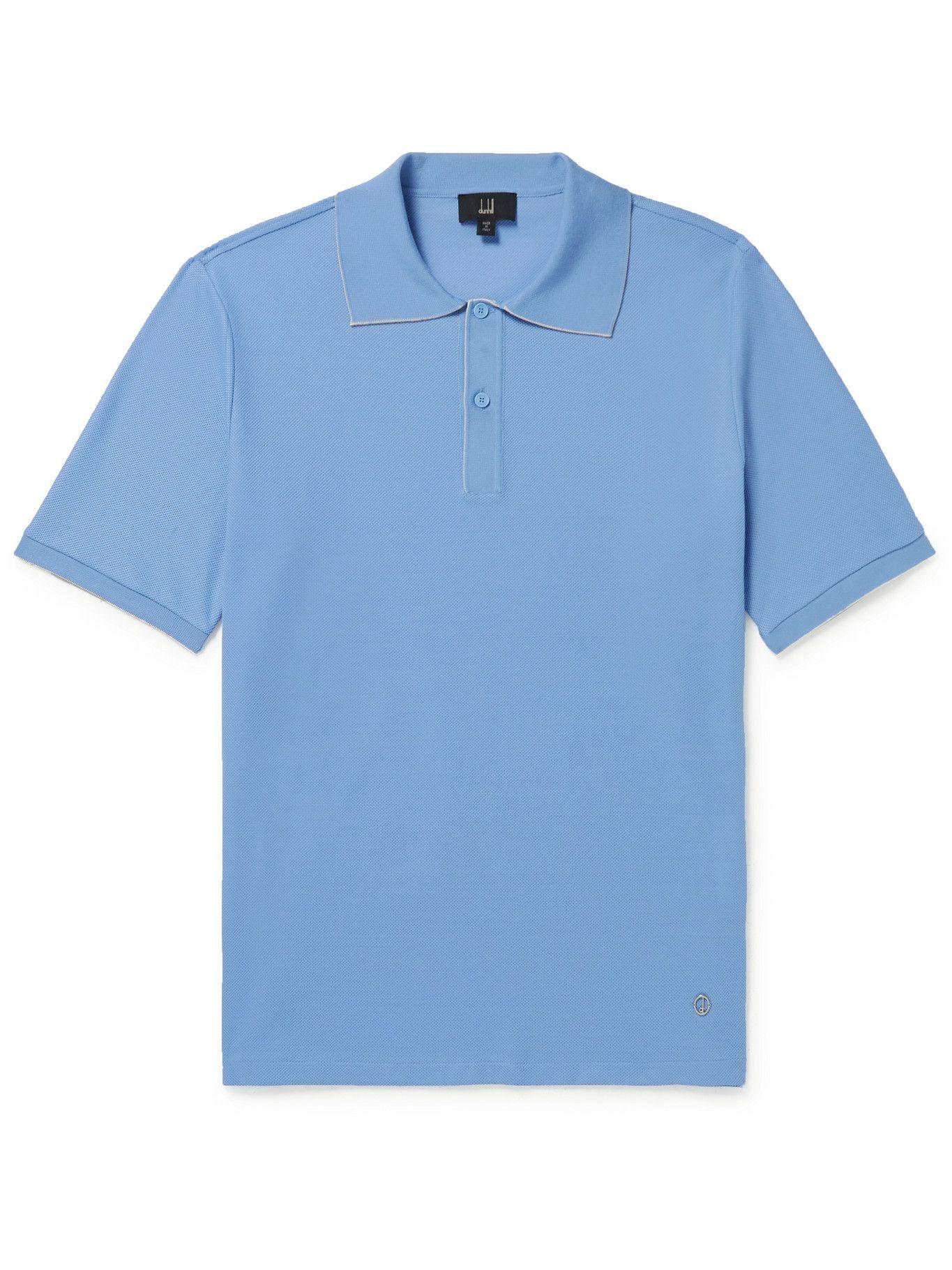 Photo: DUNHILL - Cotton-Piqué Polo Shirt - Blue