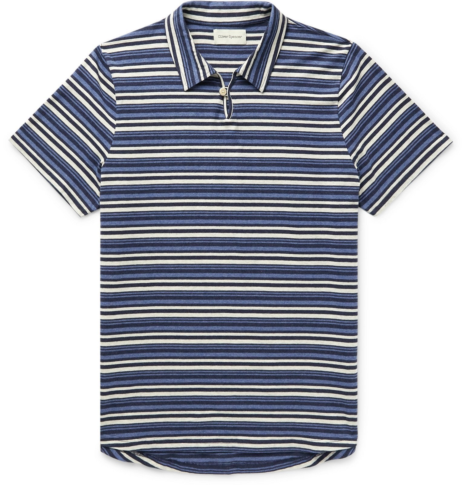 Photo: Oliver Spencer - Hawthorn Striped Mélange Cotton-Jersey Polo Shirt - Blue
