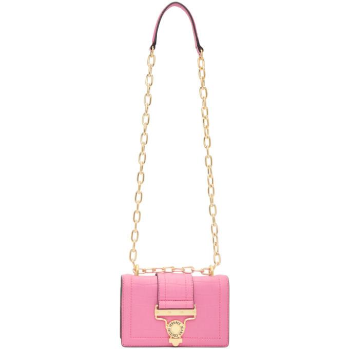 Versace Jeans Couture Pink Croc Salopette Buckle Shoulder Bag