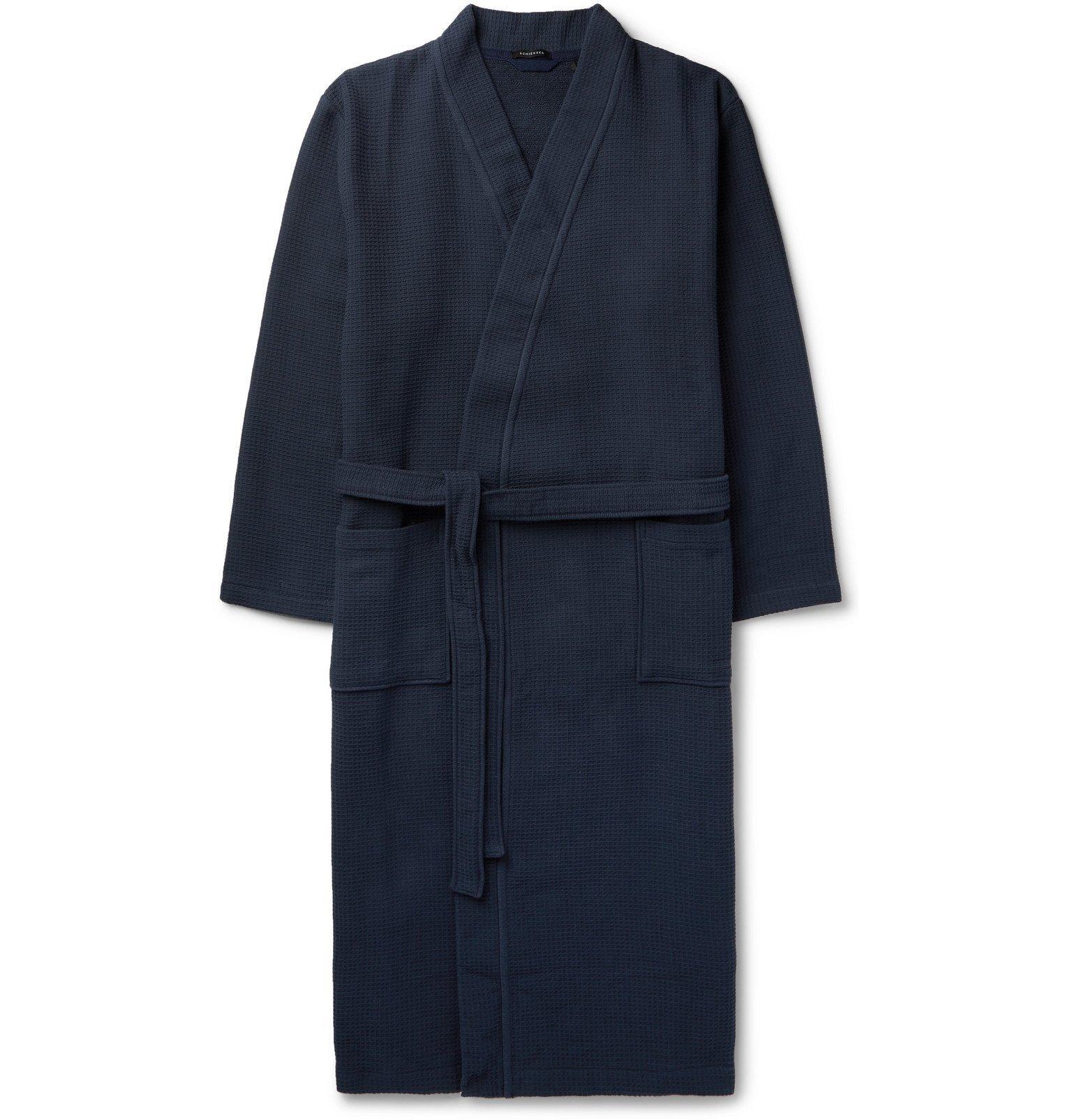 Schiesser - Waffle-Knit Cotton Robe - Blue