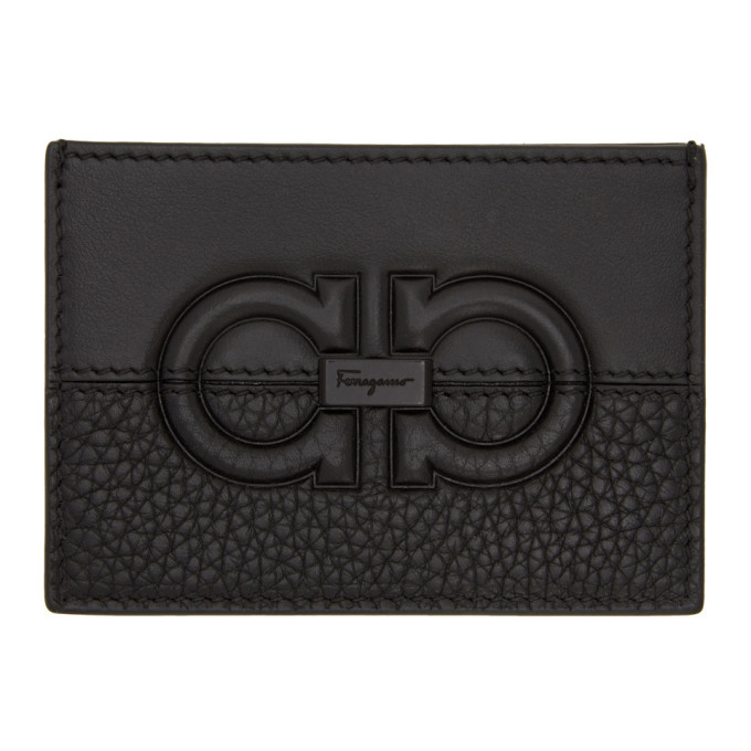 Photo: Salvatore Ferragamo Black Firenze Logo Card Holder