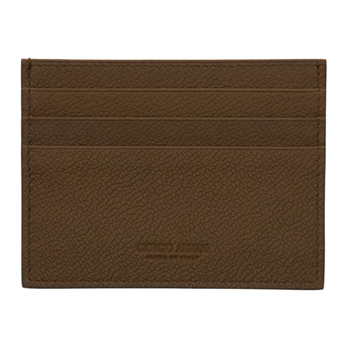 Giorgio Armani Brown Leather Card Holder