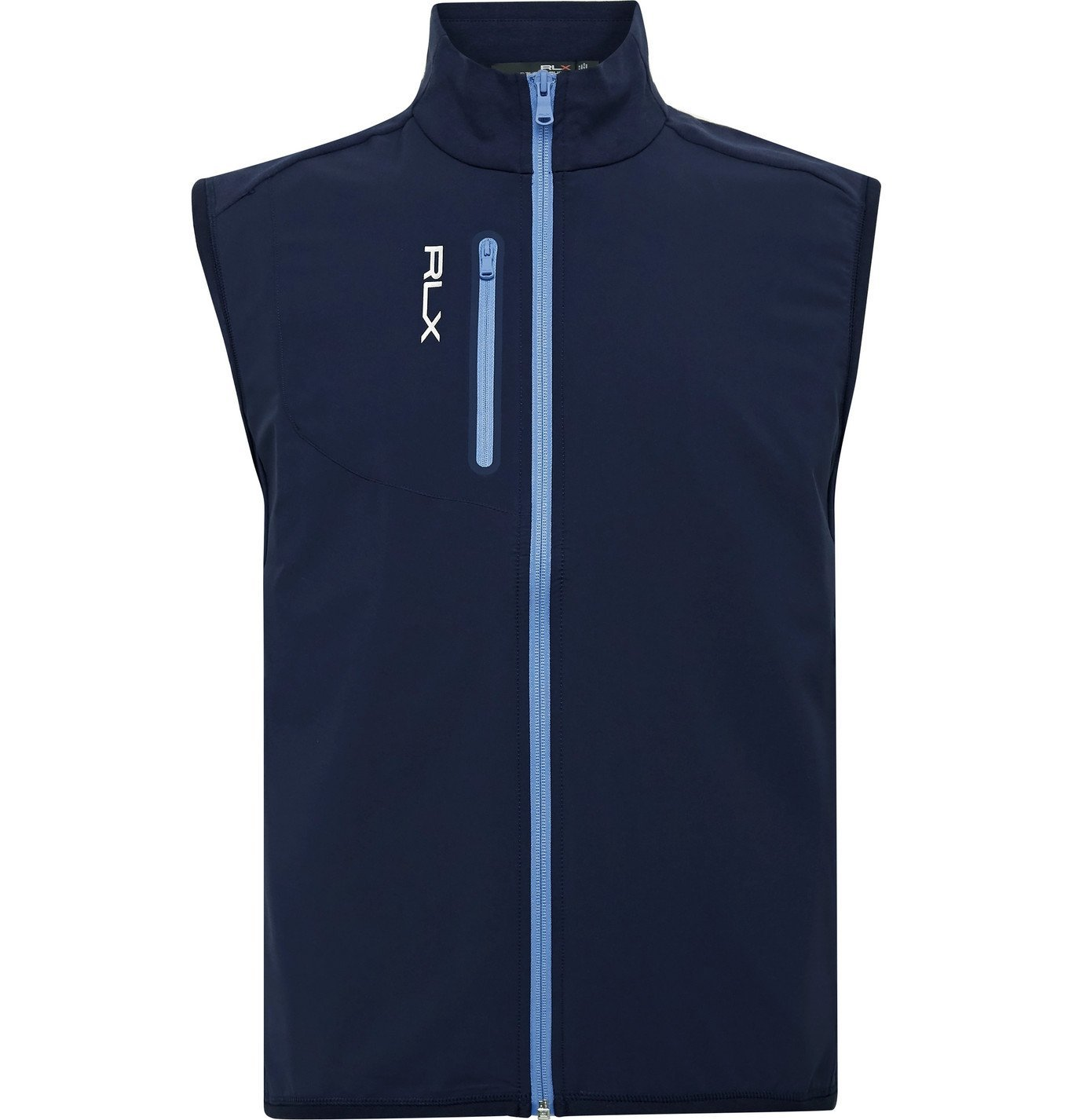 Photo: RLX Ralph Lauren - Logo-Print Panelled Cotton-Blend Jersey and Tech-Jersey Golf Gilet - Blue