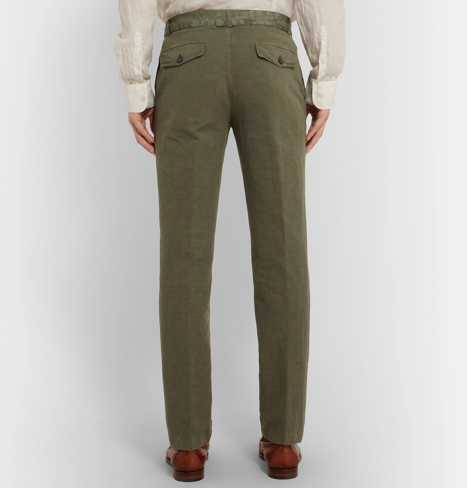 Officine Generale - Julian Slim-Fit Garment-Dyed Cotton and Linen-Blend Trousers - Green
