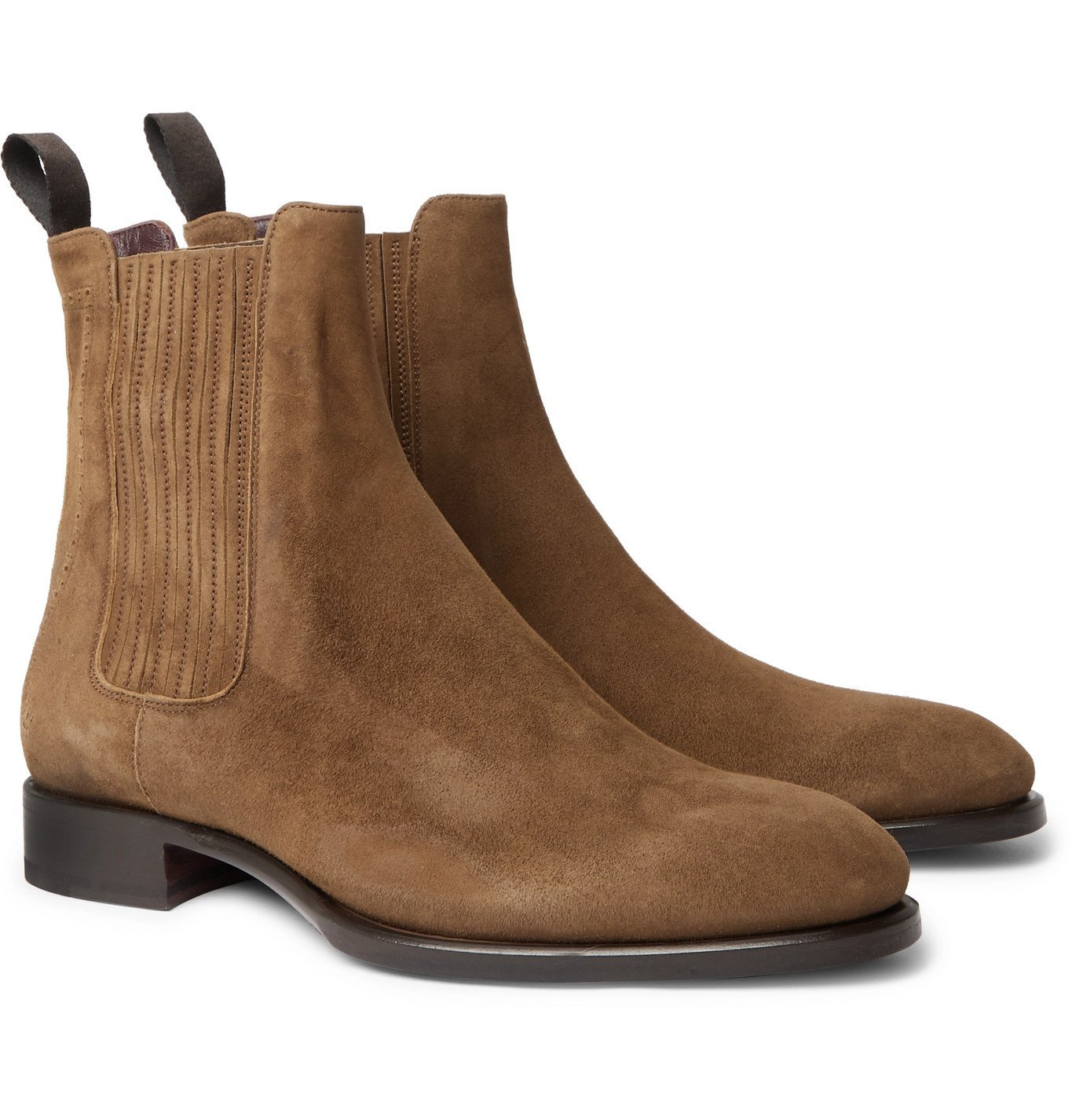 Photo: BRIONI - Suede Chelsea Boots - Brown