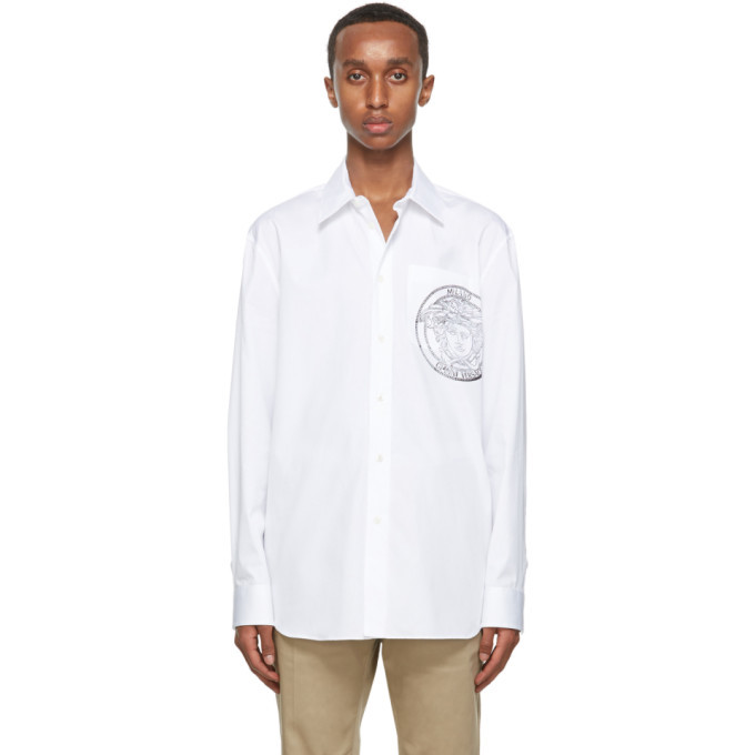 Photo: Versace White Cotton Medusa Shirt