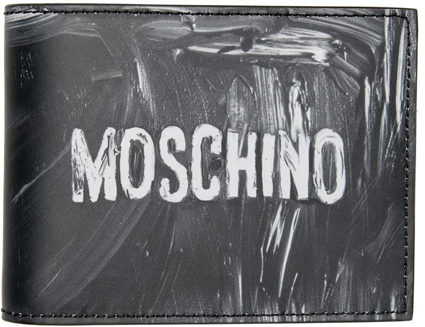 Photo: Moschino Black & White Logo Paint Bifold Wallet