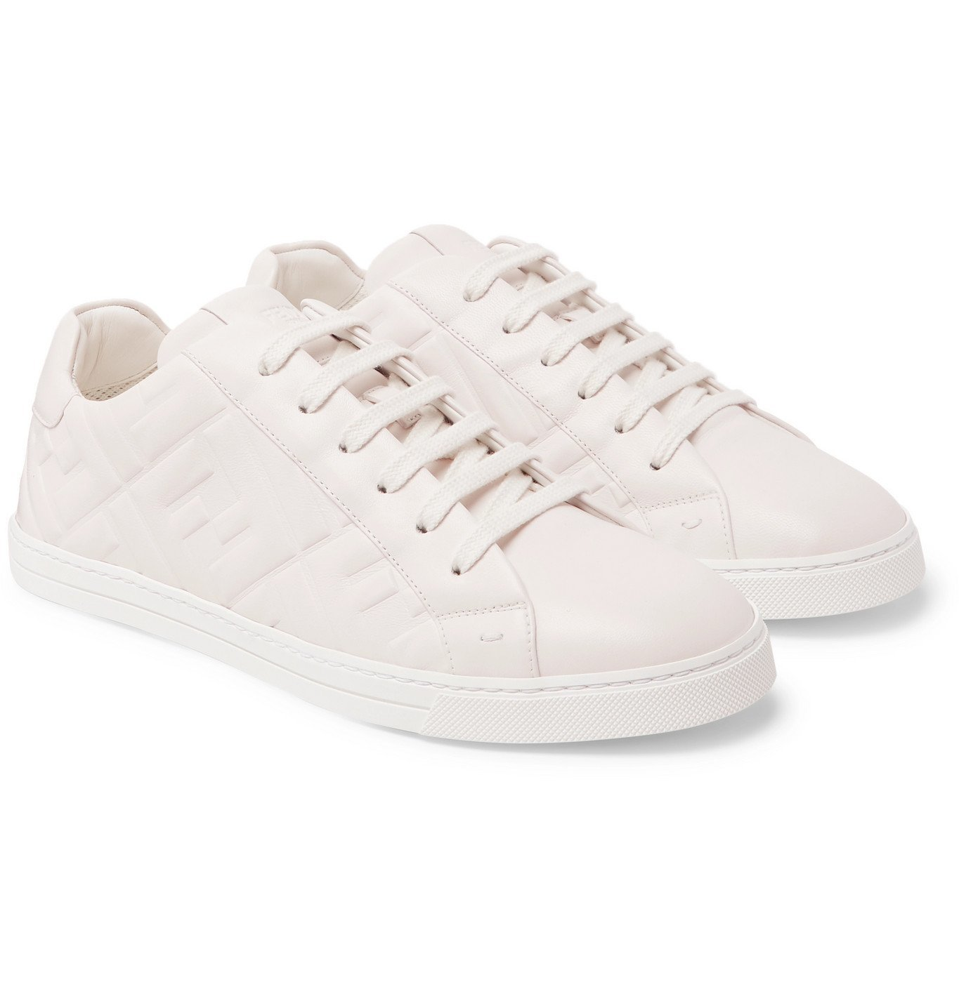 Photo: Fendi - Logo-Embossed Leather Sneakers - White
