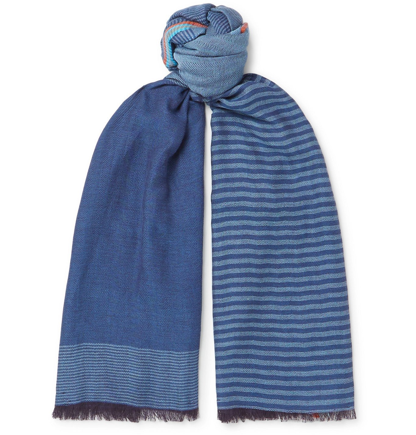 Photo: Paul Smith - Fringed Striped Cotton-Twill Scarf - Blue