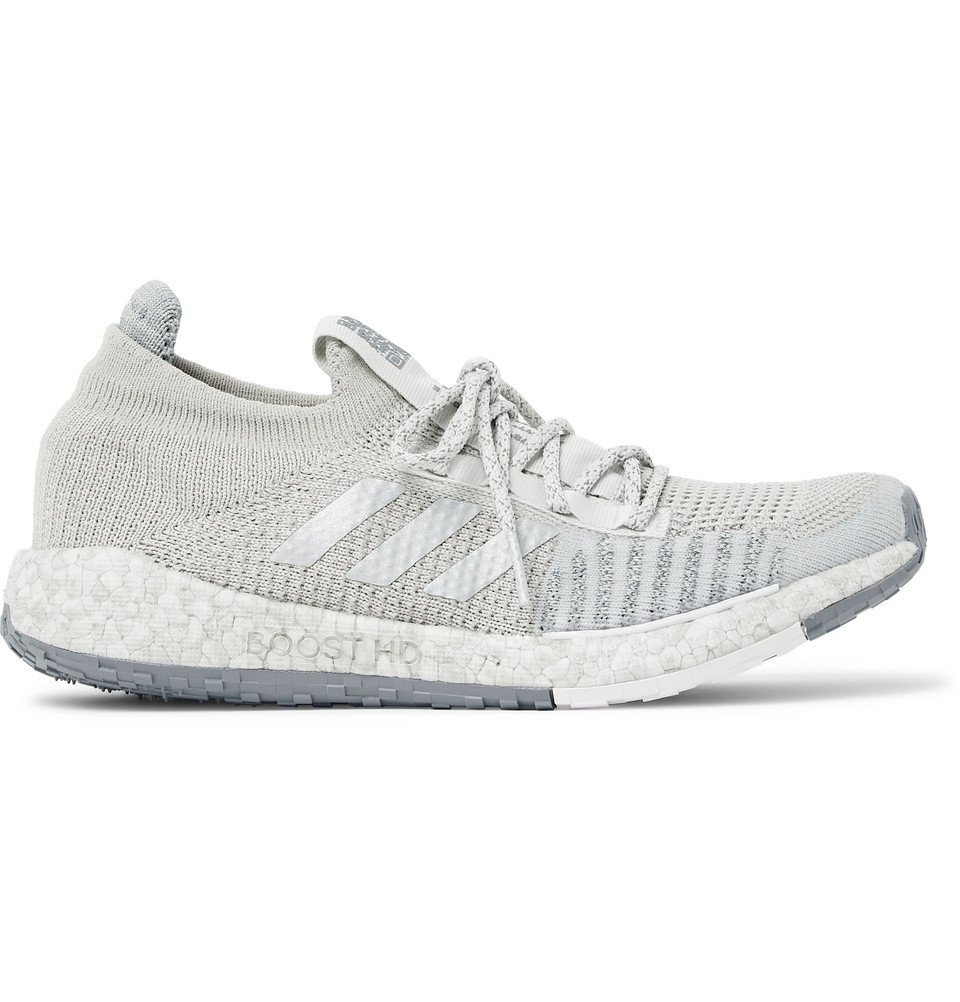 Photo: Adidas Sport - PulseBOOST HD LTD Stretch-Knit Running Sneakers - Light gray