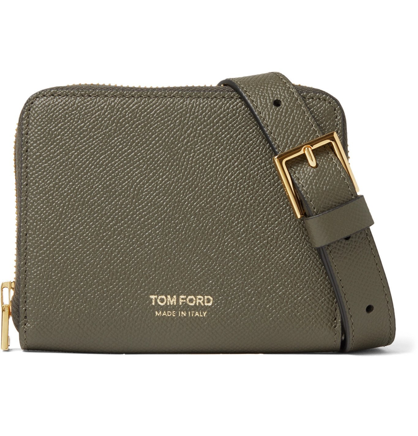 Photo: TOM FORD - Full-Grain Leather Zip-Around Wallet with Lanyard - Green