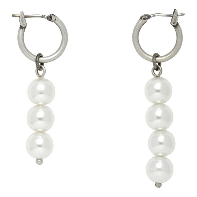 Photo: We11done Silver Faux-Pearl Drop Earrings