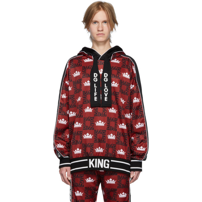 Photo: Dolce and Gabbana Red and Black Logo Crown Hoodie