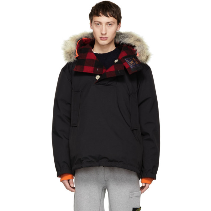 Photo: Woolrich John Rich and Bros Reversible Black Griffin Edition Down Atlantic Smock Jacket