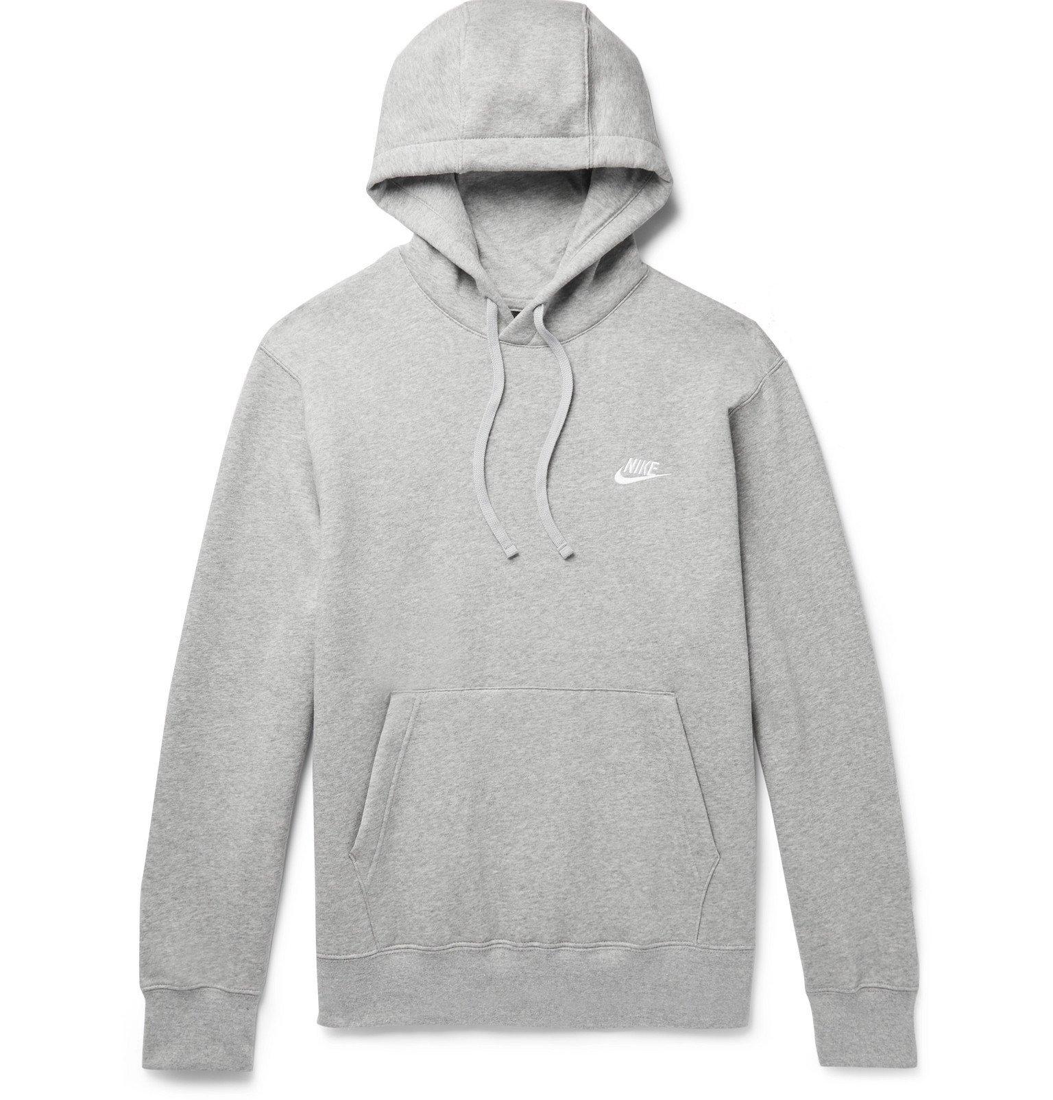 Photo: Nike - Sportswear Mélange Logo-Embroidered Fleece-Back Cotton-Blend Jersey Hoodie - Gray