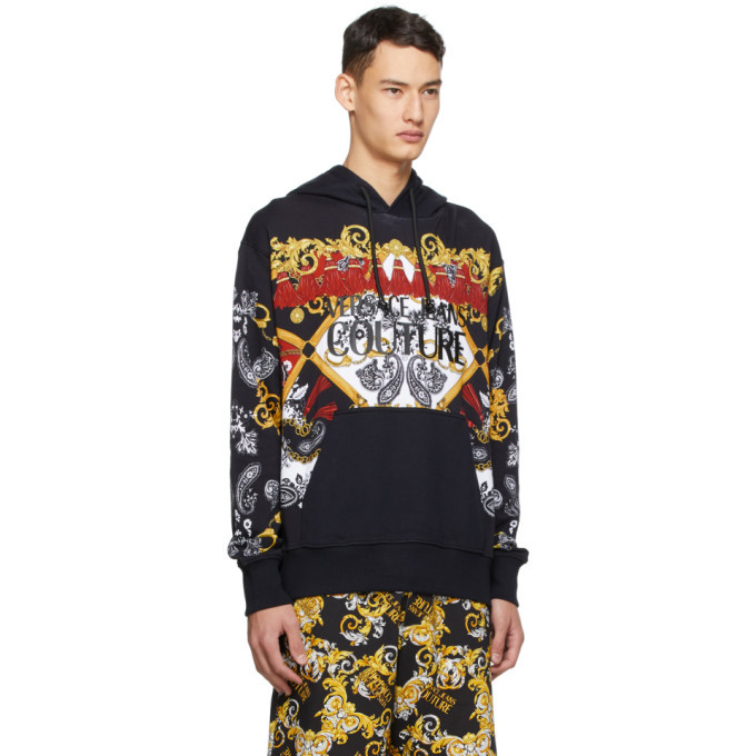 Versace Jeans Couture Black Paisley Fantasy Logo Hoodie