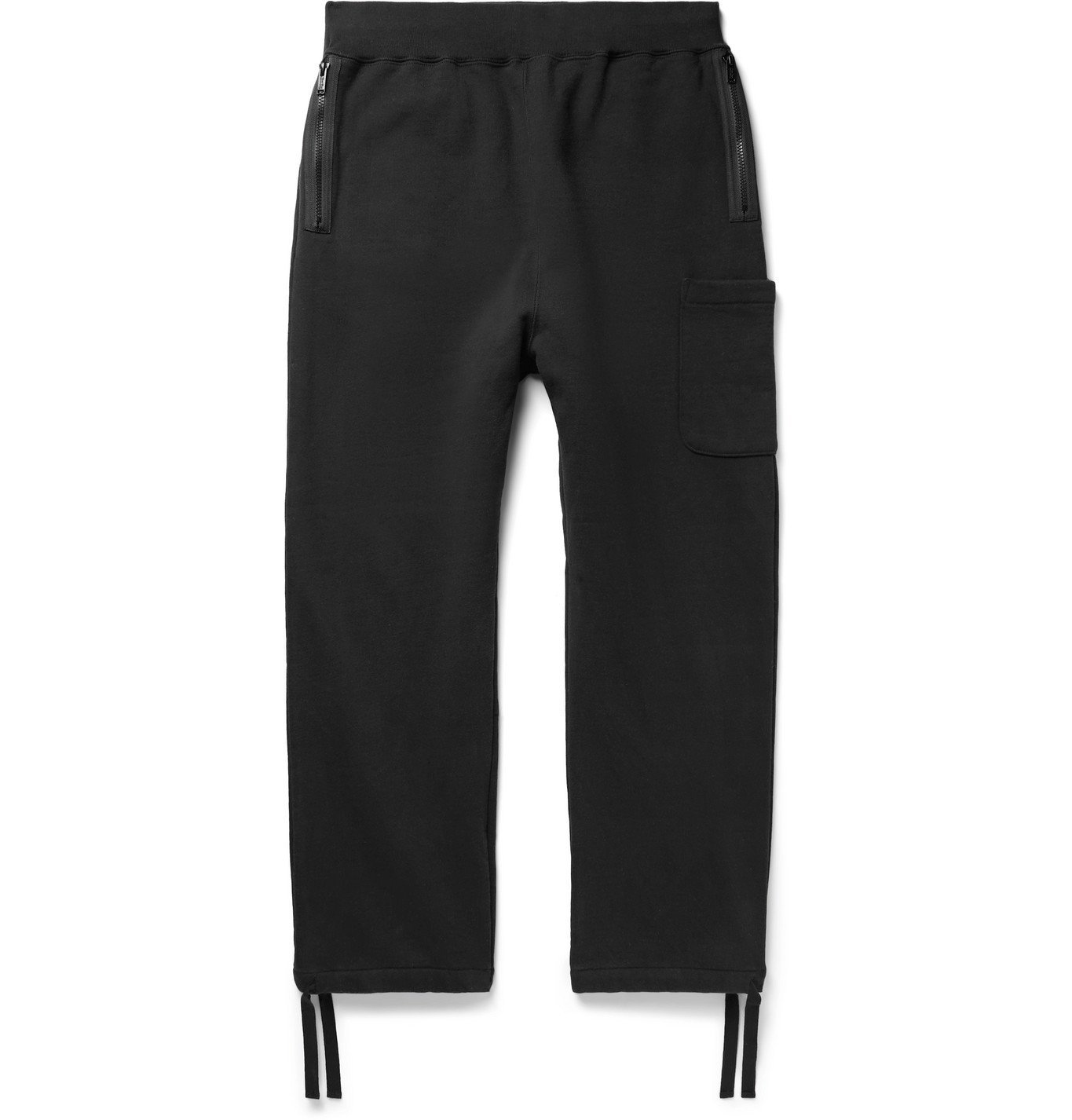 Photo: Undercover - Tapered Fleece-Back Cotton-Jersey Sweatpants - Black