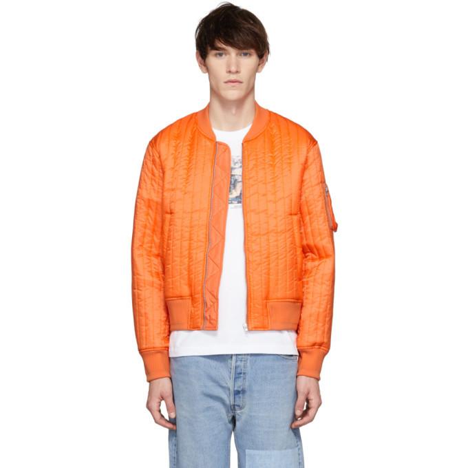 Photo: Helmut Lang Orange Quilted Nylon Bomber Jacket