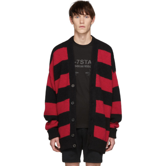 Photo: Dsquared2 Black and Red Striped Cardigan