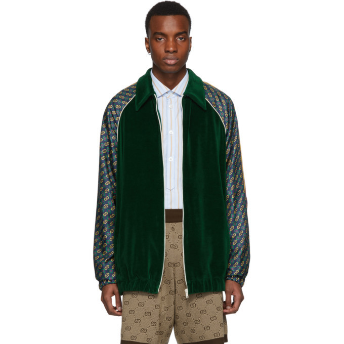 Photo: Gucci Green Chenille Zip-Up Sweater