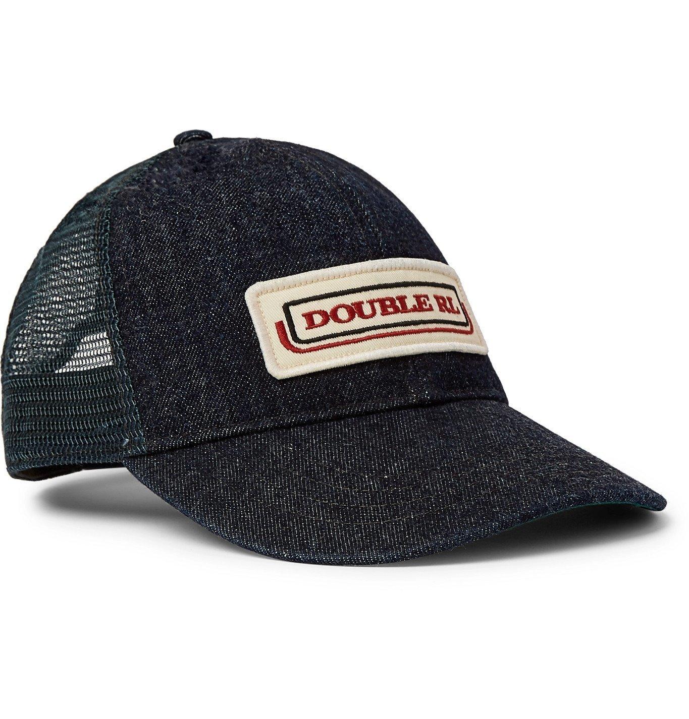 RRL - Appliquéd Denim and Mesh Trucker Hat - Blue