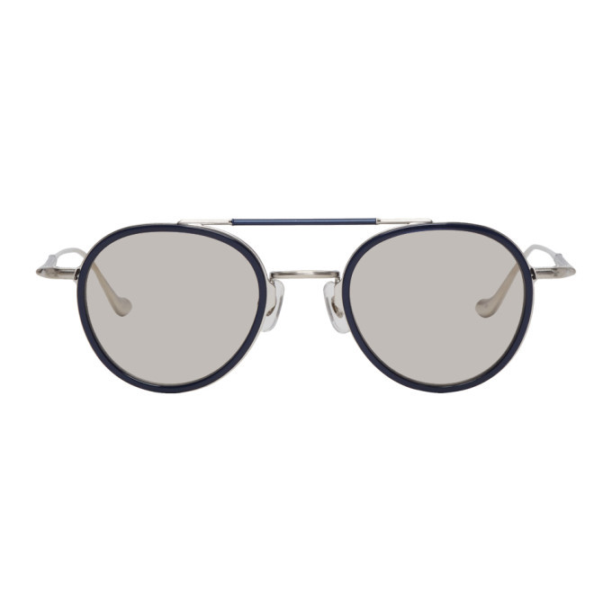 Photo: Matsuda Silver and Navy Brushed M3064 Sunglasses