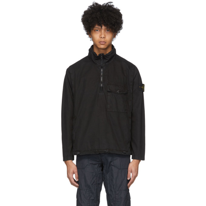 Stone Island Black Cotton Pullover Jacket