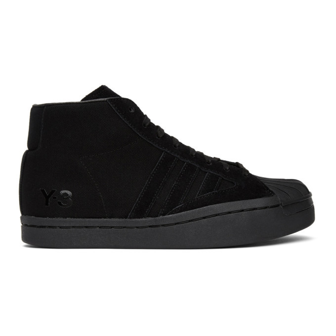 Photo: Y-3 Black Yohji Pro High-Top Sneakers