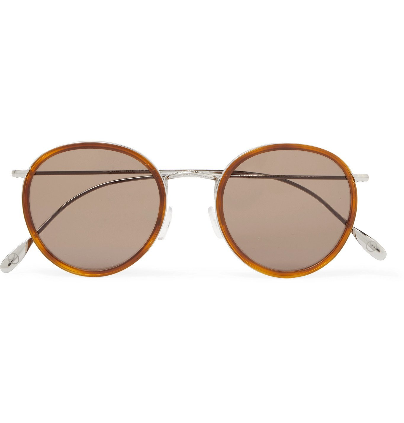 Photo: Kingsman - Cutler and Gross Round-Frame Acetate and Silver-Tone Sunglasses - Brown