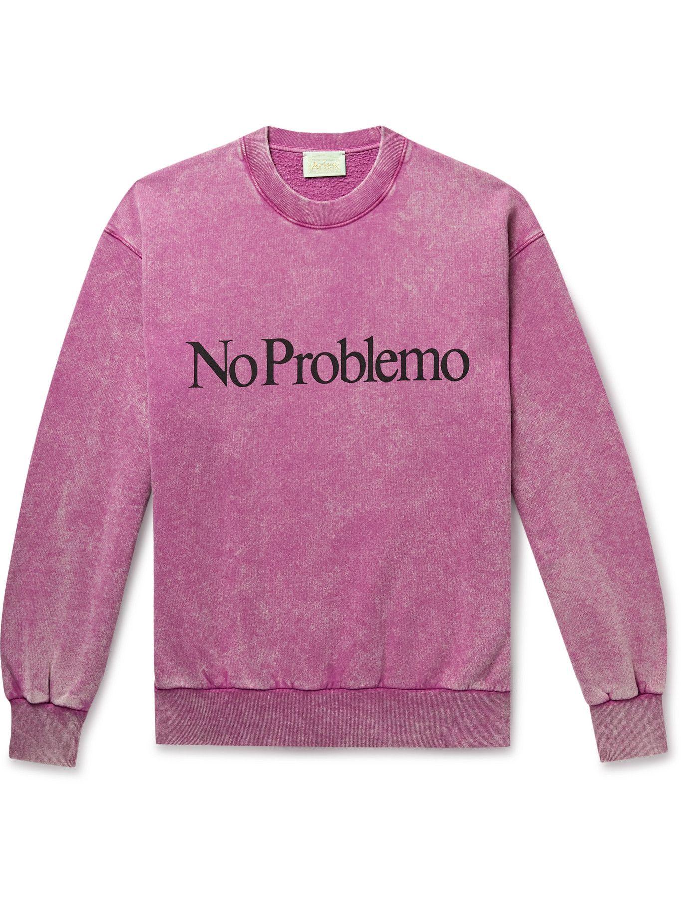 Photo: Aries - No Problemo Acid-Washed Cotton-Jersey Sweatshirt - Pink