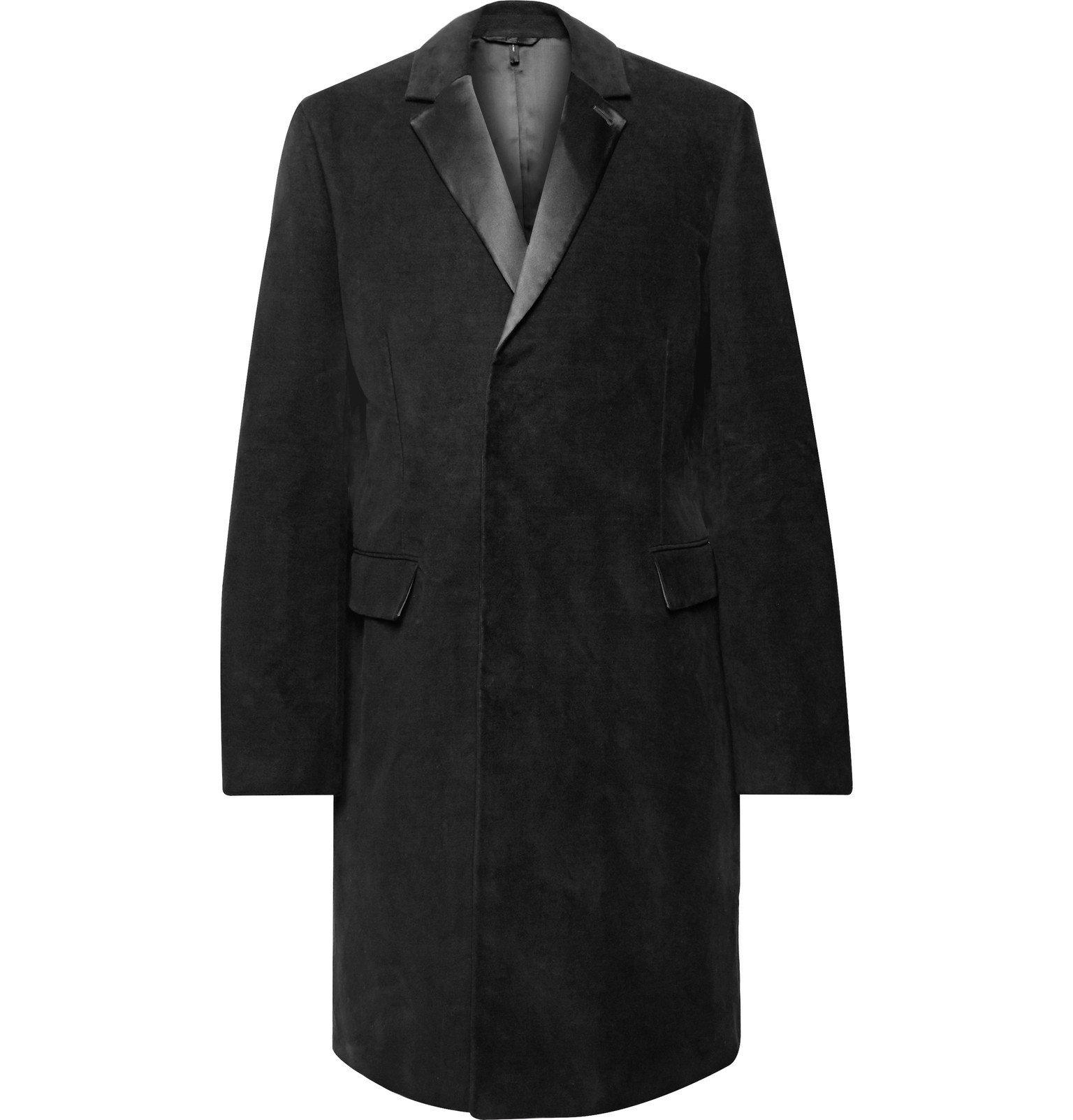 Photo: Helmut Lang - Silk-Trimmed Cotton-Moleskin Overcoat - Black