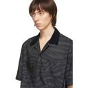 Sacai Black and Grey Zebra Short Sleeve Shirt