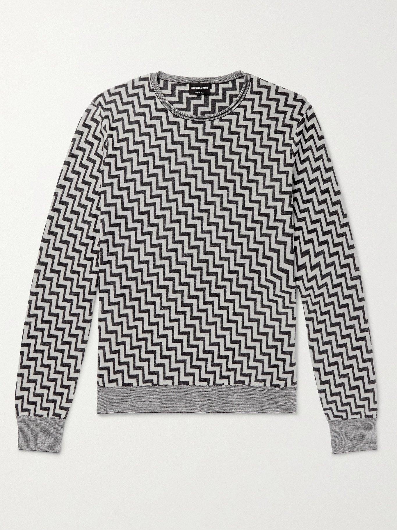 Photo: GIORGIO ARMANI - Intarsia Silk, Cashmere and Linen-Blend Sweater - Multi - IT 50
